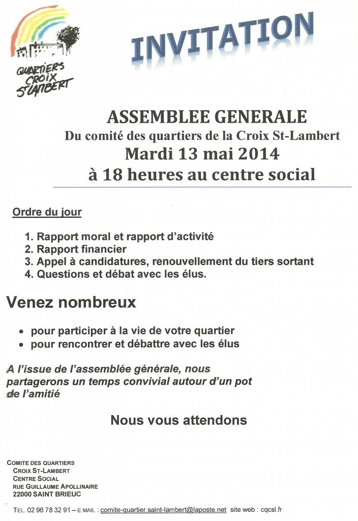 Assemblée Générale du Comité des Quartiers Saint Lambert