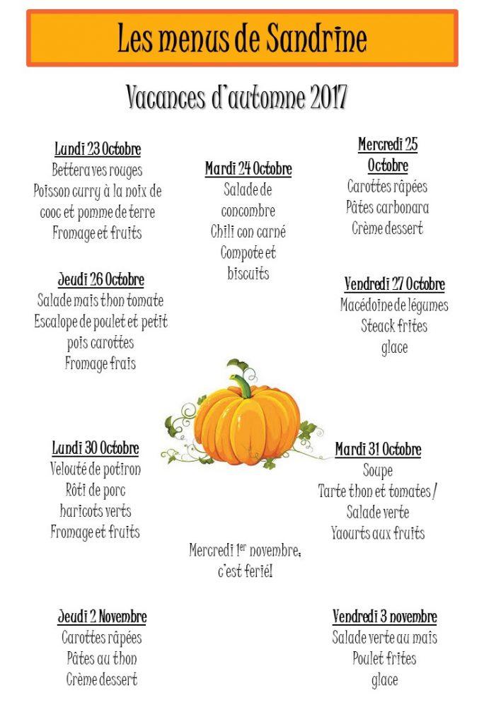 Le menu des vacances d'automne