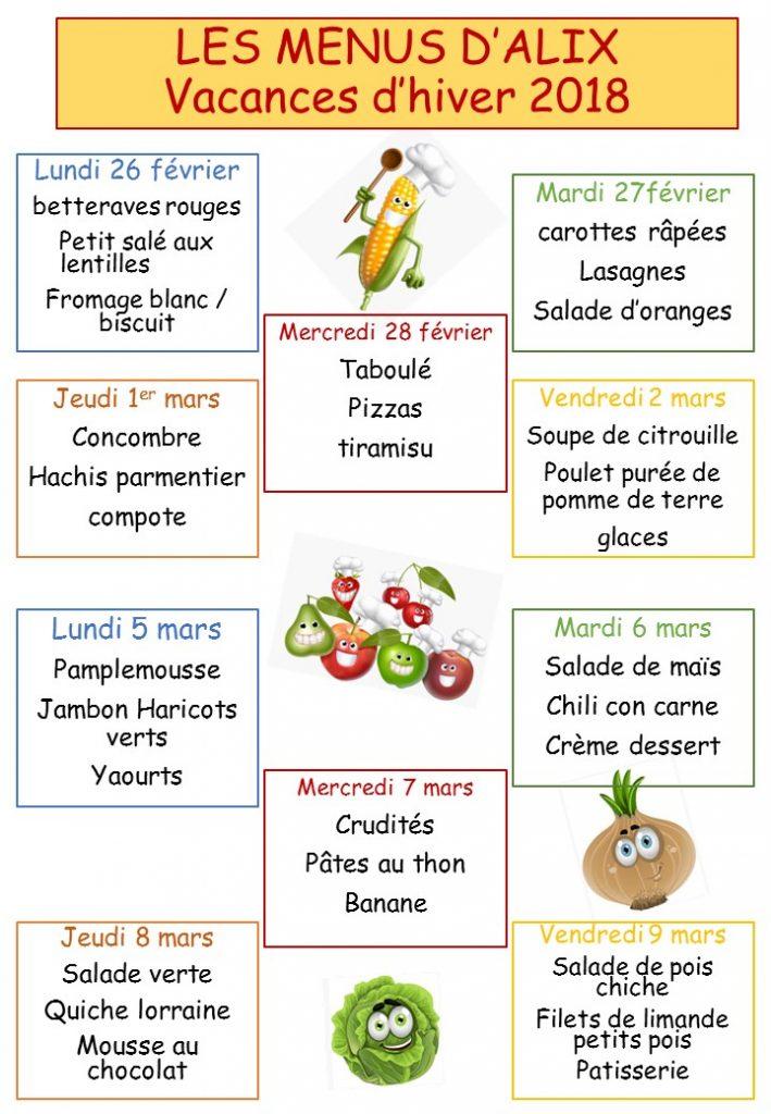 Les menus des vacances d'hiver