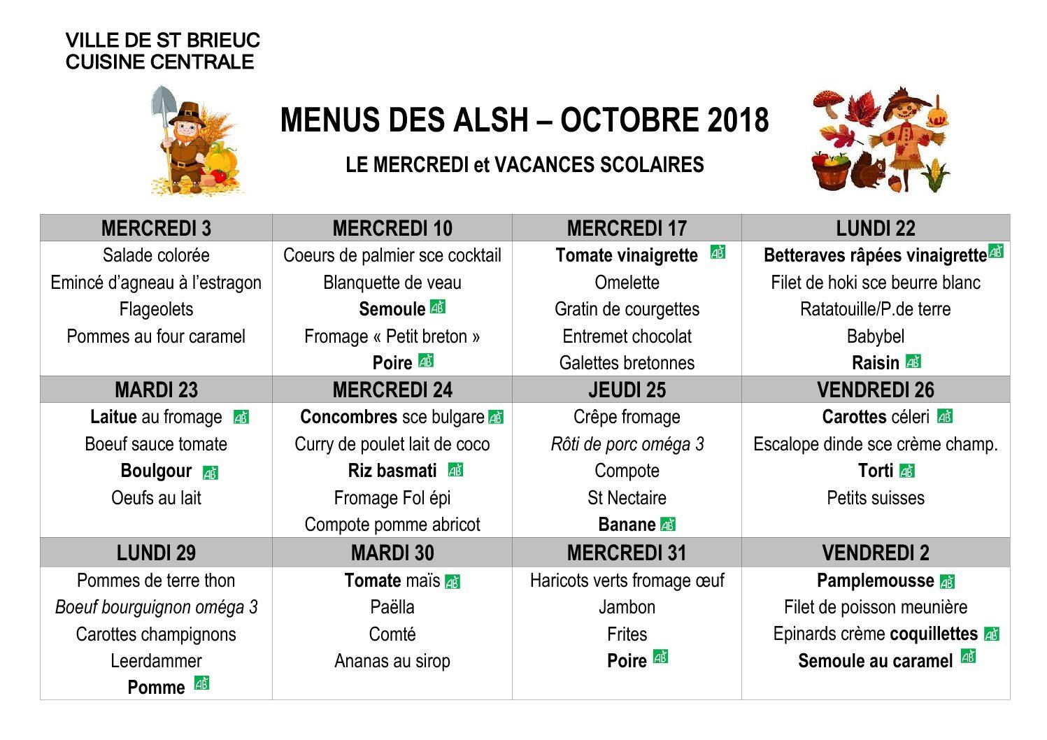 Les menus du mois d'Octobre, mercredis et vacances scolaires