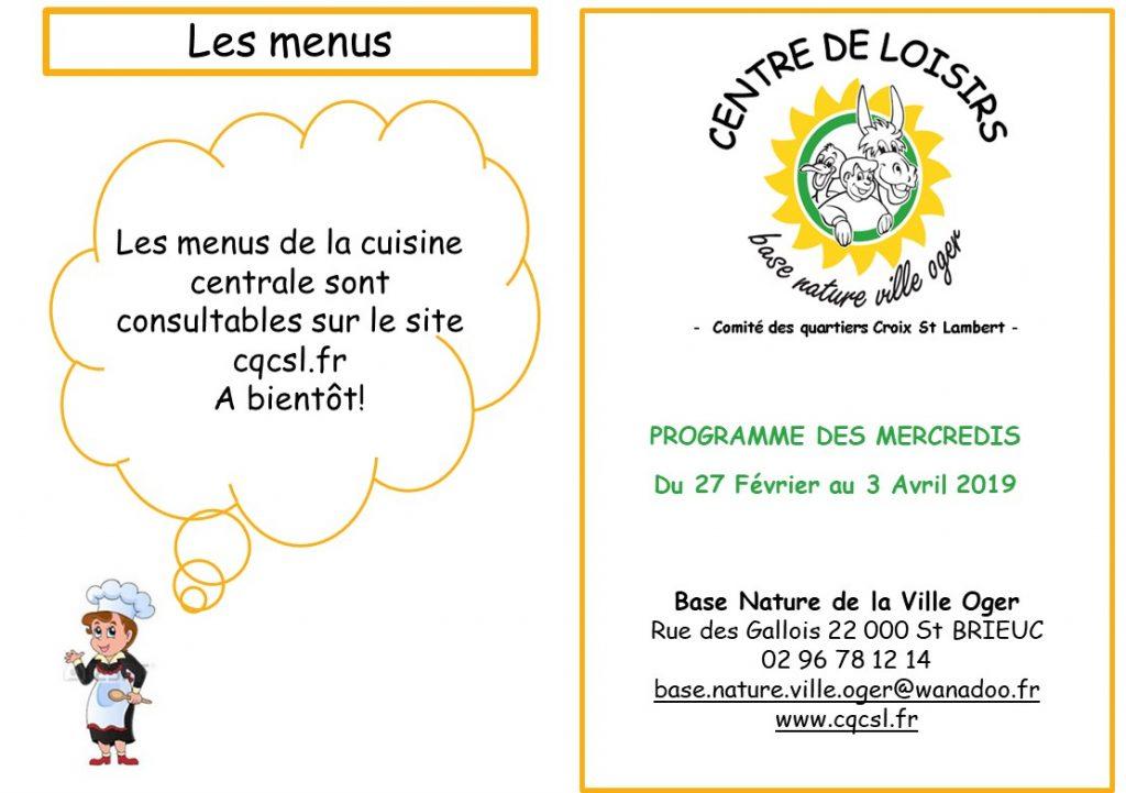Programme centre de loisirs Février-Avril