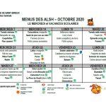 Les menus pour le mois d'octobre 2020